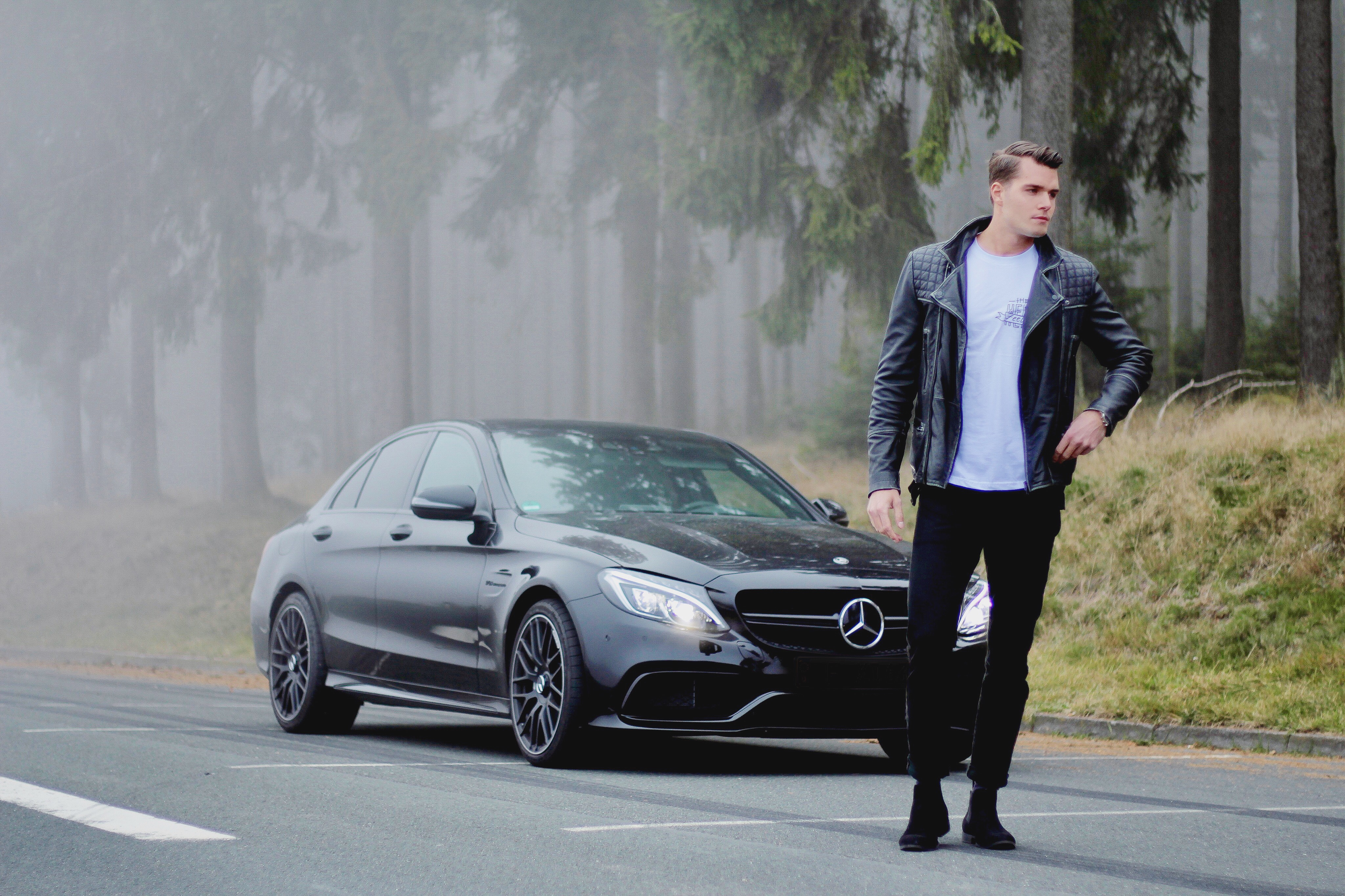 Mercedes C63 AMG, @dpersy wearing an Allsaints Leather Jacket, Levis Jeans Shot by @felixfr98
